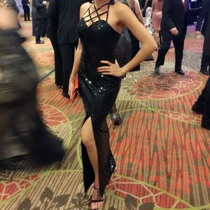 Adrianna Papel black sequin evening gown